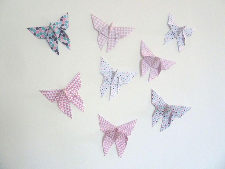 8 stickers autocollants papillon en origami pour d coration murale de chambre de fille enfant. Black Bedroom Furniture Sets. Home Design Ideas