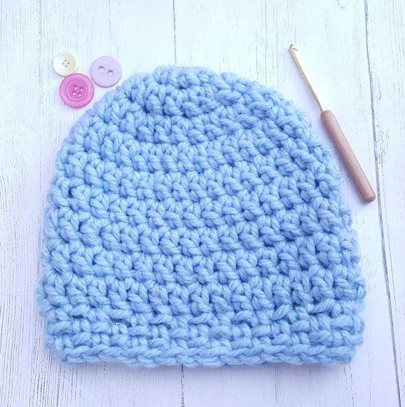 Blue crochet hat.  Chunky wool. Chunky hat  warm hat. Women's hat. Men's hat. Unisex hat. Winter hat. Beanie hat.