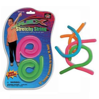 Stretchy String is an awesome sensory fidget toy that streeeeeeetches out the fun whenever they're around. Each 12-inch strand is super soft and feels neat in your hands when twisted or squeezed. But they don't call this Stretchy String for nothing. Every strand stretches up to 10 FEET in length!Stretchy String is a great latex-free toy for a child or adult who needs to fidget to stay focused and relaxed. Each package includes two strings in randomly-chosen neon colors.