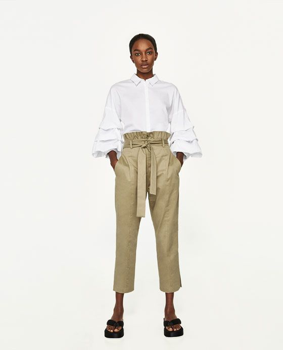 ZARA - WOMAN - TROUSERS WITH FRILLED WAISTBAND