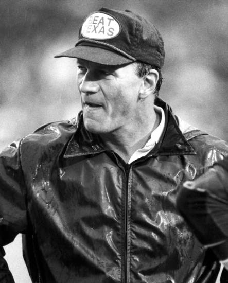 Barry Switzer in his BEAT TEXAS hat. 1984.