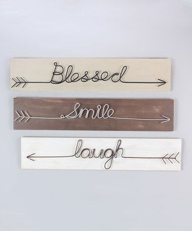 Loving this 'Blessed Smile Laugh' Sign - Set of Three on #zulily! #zulilyfinds