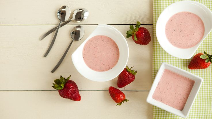 Chilled Strawberry Soup with Pesto and Black Pepper