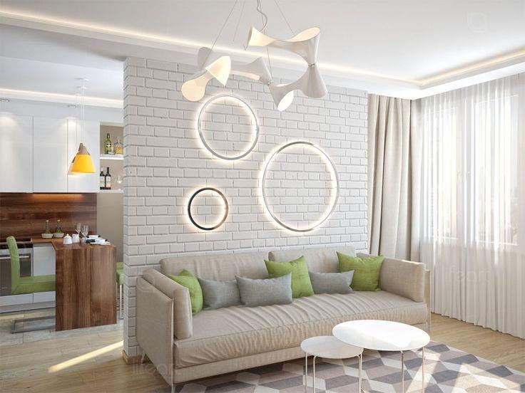 Гостиная, стиль лофт, мебель шпон ореха, электрический камин, декоративная штукатурка, декоративный кирпич