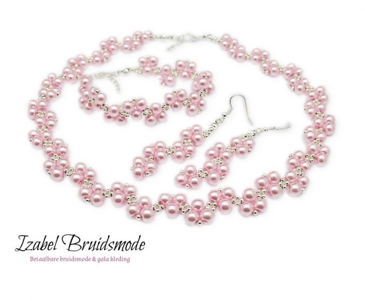 Bruids sieraden set roze met parels/ Wedding jewerly set with pearls pink