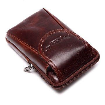 Men Genuine Leather Waist Bag Business Crossbody Bag Cellphone Bag - US$22.89