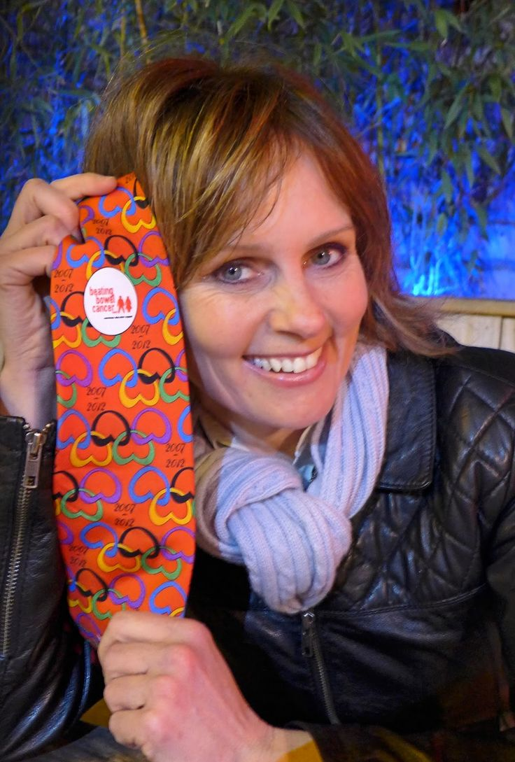 Freya North with the Beating Bowel Cancer tie      On an a chilly spring evening in 2015 I met up with the author Freya North in London a...