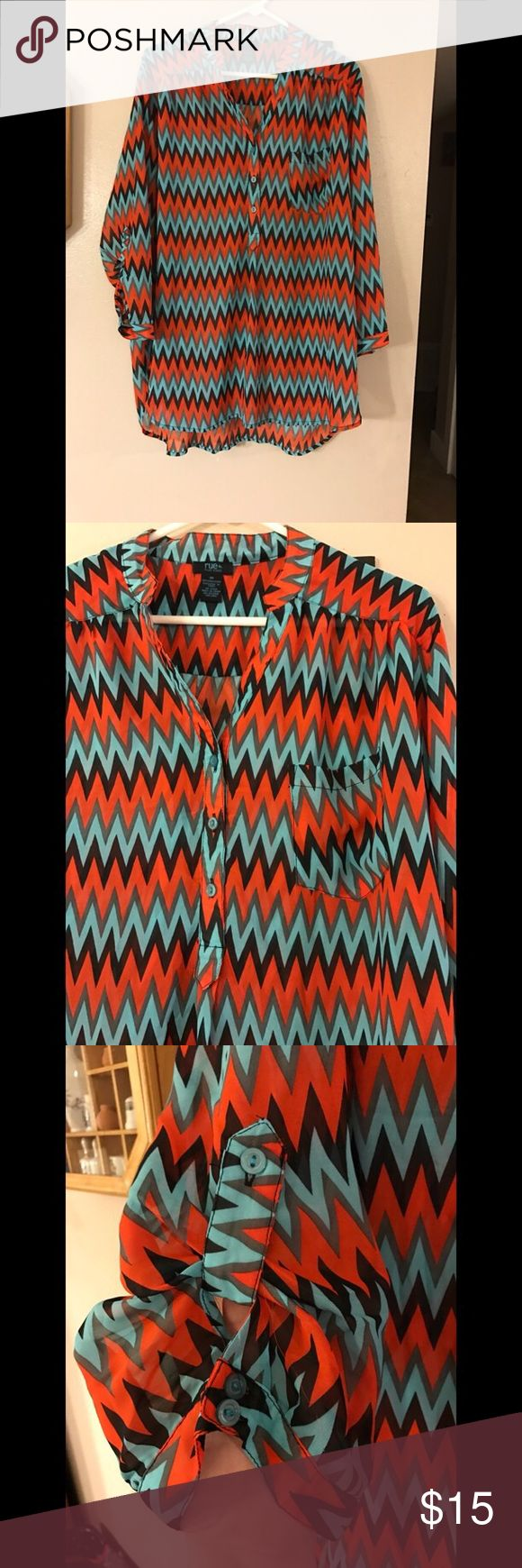 Chevron shirt Used. In good condition! Chevron shirt. 100% polyester! Rue 21 Tops Blouses