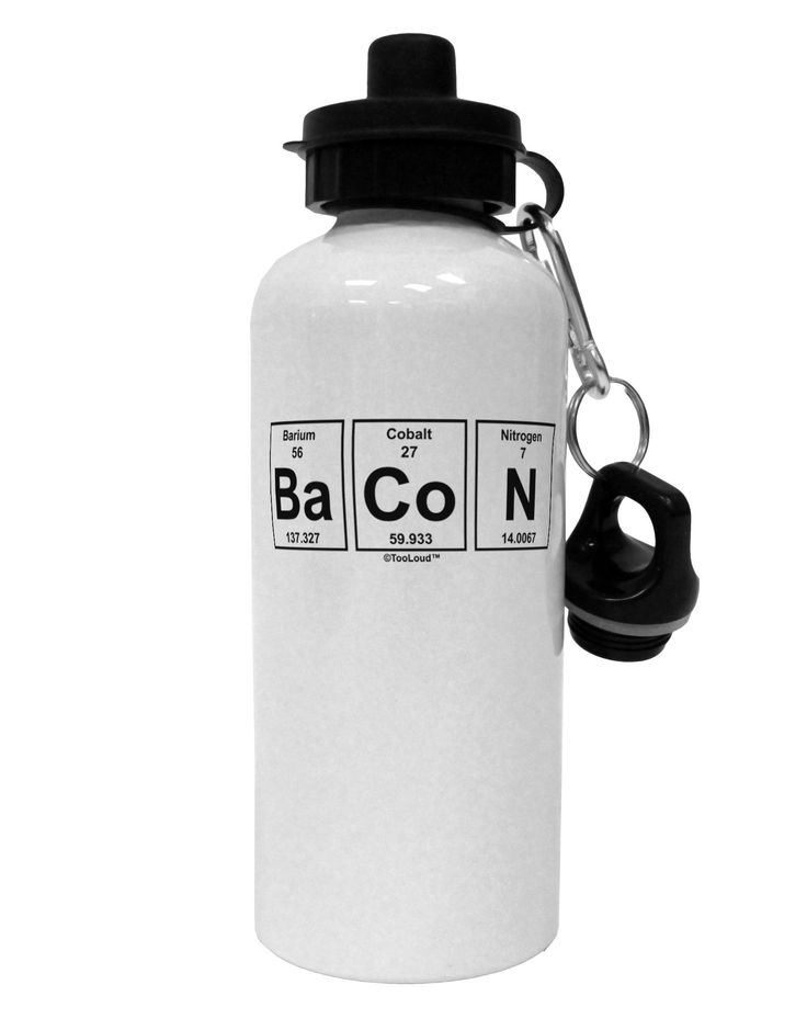 Bacon Periodic Table of Elements Aluminum 600ml Water Bottle by TooLoud