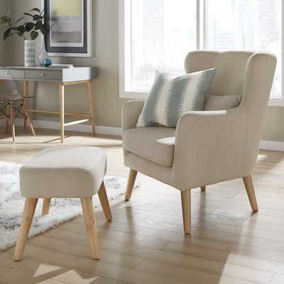 Mercury Row Branscome Club Chair and Ottoman Color: Beige