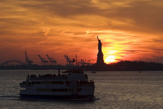 Sunset from staten island ferry