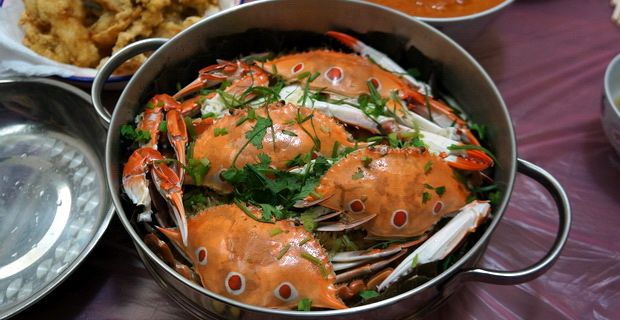 Chinese Recipe : Steamed Crab with Glutinous Rice