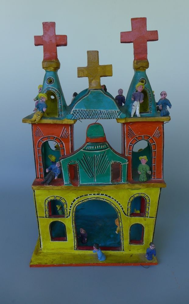 Large Vintage Mexican Ceramic Church Candelario Or Serapio