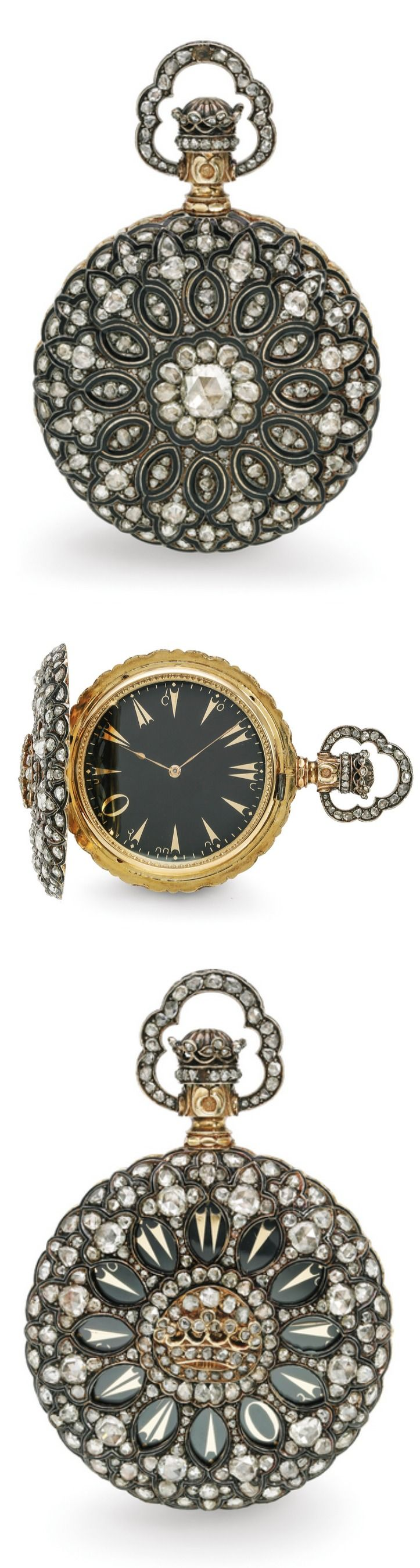 Swiss A VERY FINE AND RARE YELLOW GOLD AND DIAMOND-SET HALF-HUNTER CASED KEYLESS WATCH MADE FOR THE TURKISH MARKET NO 1082 CIRCA 1890 • manual winding jewelled nickel silver lever movement, cut bi-metallic compensation balance, wolf's teeth winding mechanism, pink gold wheels • hinged gold cuvette • black dial, gilt Turkish numerals • 18k yellow gold case fully set with rose-cut diamonds, small crown design to the centre of the front cover and to the winder • cuvette numbered