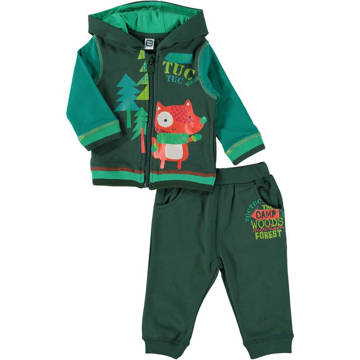 Two Piece Green Fox Graphic Tracksuit - Baby Boy - Baby ...