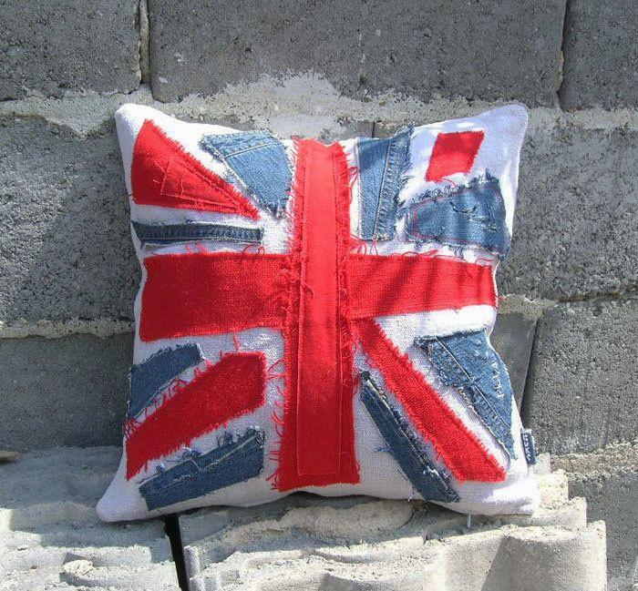 almohadas, apliques, pantalones vaqueros de alteración, creativo, patchwork, union jack, union