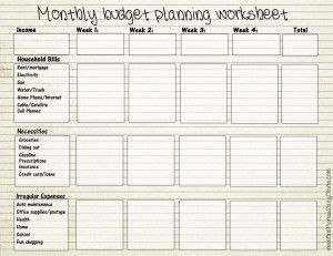printable monthly budget forms