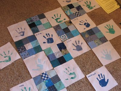 idea for handprint keepsake quilts for Chloe as she grows, a family reunion, or a family quilt