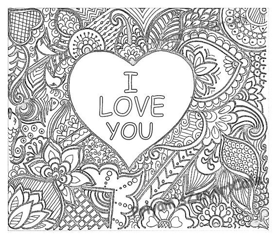 I love you art love zentangle adult coloring page by