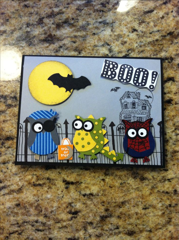 mom made this cute boy halloween card for austin stampin up - Handmade Halloween Cards Pinterest
