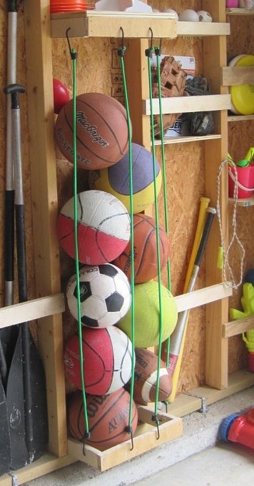 DIY Garage Storage Projects • Lots of ideas  Tutorials! We need the ball storage in the picture!!!                                                                                                                                                                                 More