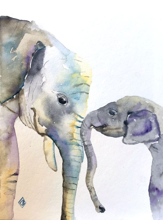 Mother and baby elephant  9x12 Original watercolor painting by FernOriginalArt on Etsy - $36.00