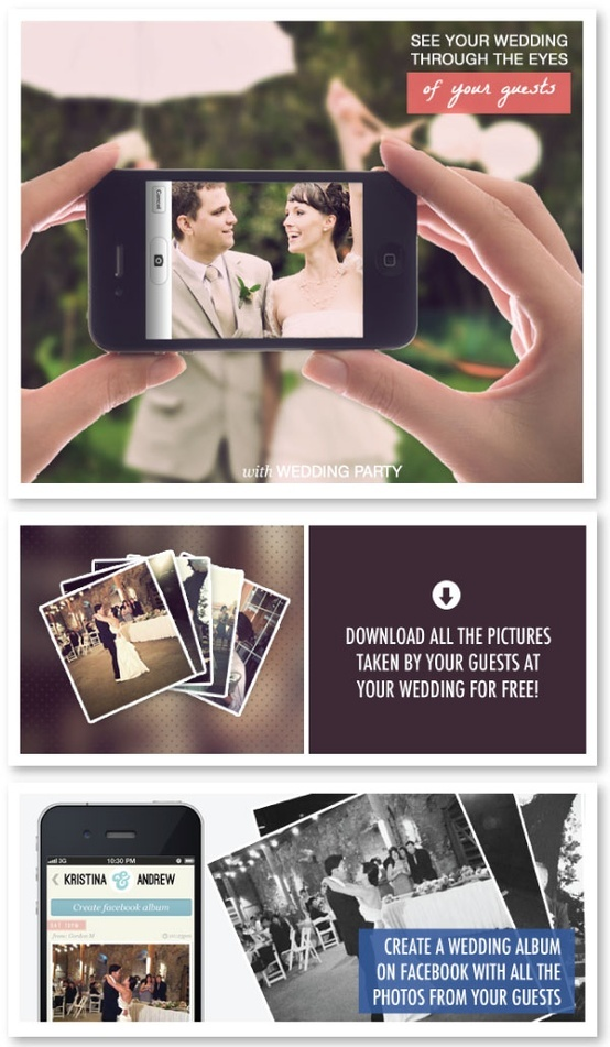 Wedding Party app is the simplest way to collect all the wedding photos your guests take! Simply set up your FREE #wedding app, have your guests download, and see every minute of your wedding in a gorgeous timeline the next day!  Wish I found out about this for my wedding last year!!: Wedding Parties, Iphone App, Disposable Camera, Parties App, Wedding Photo, Free Wedding, Get Marry, My Wedding, Big Day