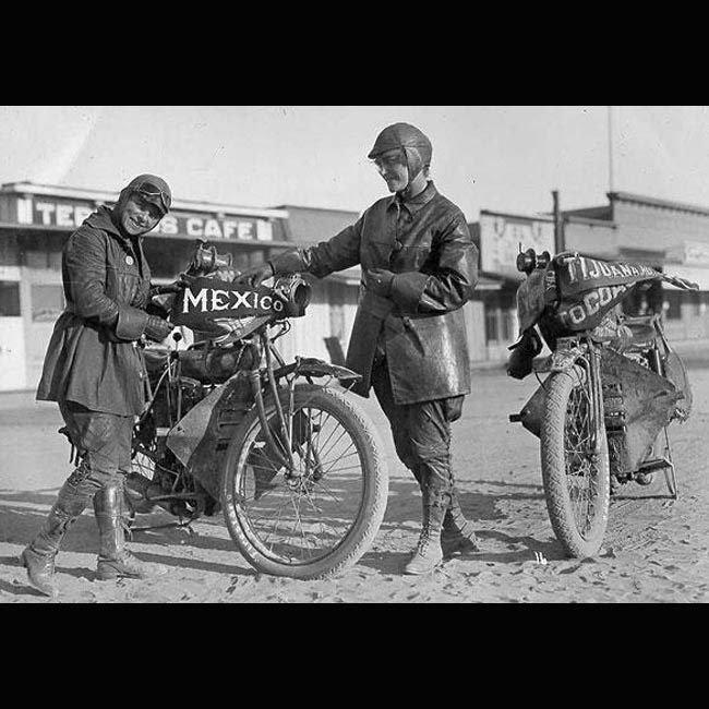 Antique Motorcycles And Riders On The Beach  Woman Riding -7556
