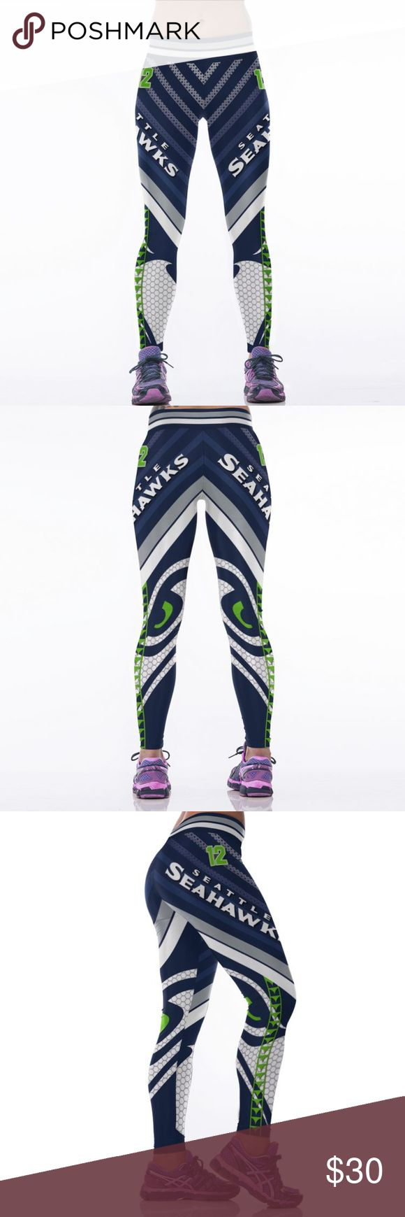 Seattle Seahawks NFL Leggings Root for your favorite team in these high quality NFL leggings! Perfect wardrobe addition while watching Sunday football games. The vivid colors and designs are sure to turn heads! Get a pair now while they last to show your team support every week as they inch their way to the glorious Super Bowl Material: Spandex/Polyester Measurements:  (Length / Waist / Hip) S/M: 36 / 27.5-37 / 33-41.5 L/XL: 36.5 / 30–39.5 / 35.5-44 Price FIRM unless bundled FAST Shipping…