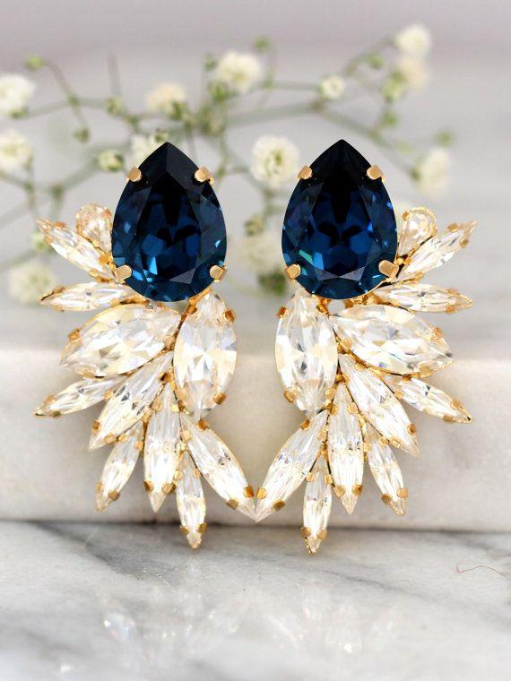 Blue Navy Earrings, Bridal Navy Blue Earrings, Swarovski Bridal Earrings,Cocktail Earrings,Big Earring, cocktail earrings, Wedding Earrings  Dazzling