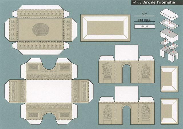 diy printable 3d paper arc de triomphe Triomphe
