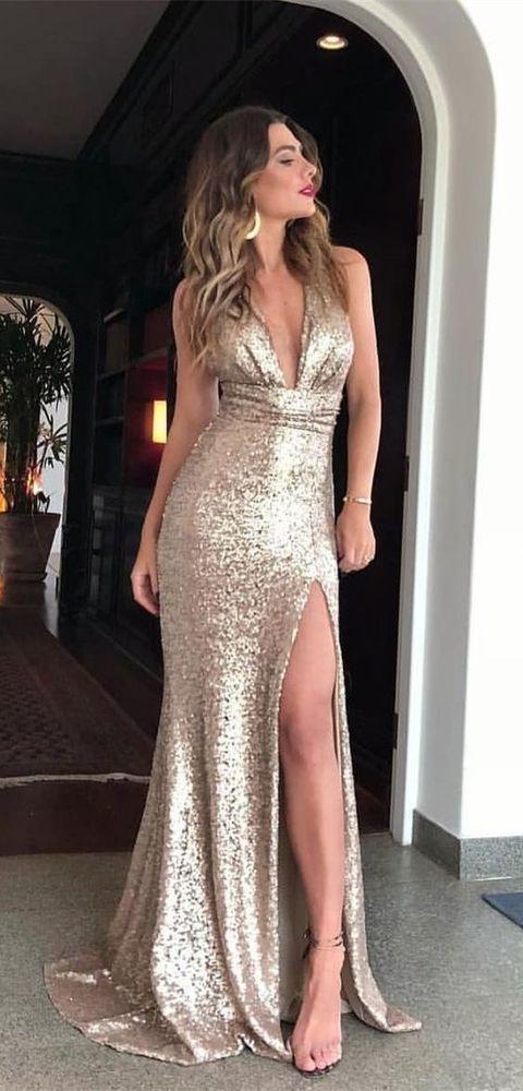 5ea2eee42c V-Neck Floor-Length Light Champagne Sequined Split Prom Dress from prom  dress