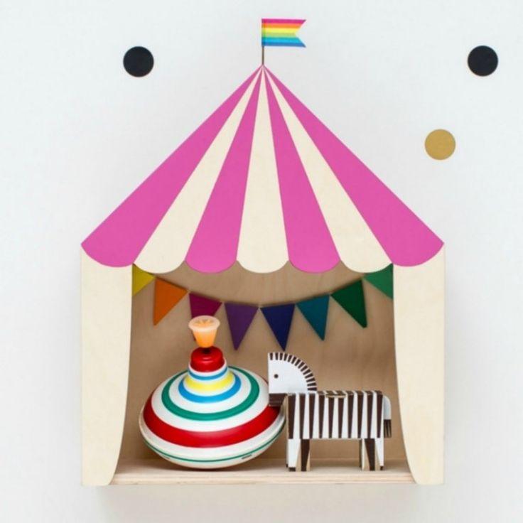 Kinderzimmer Regal 'Zirkuszelt' 30x36cm, pink/Naturholz