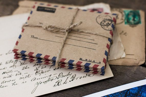 Airmail Envelopes, Stationary, Paper Goods, Rustic, Office Supplies, Kraft, Wedding Envelopes, Invitations, Announcements, Kraft Envelopes