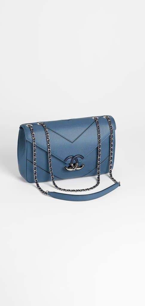 Spring-Summer 2017 Pre-Collection -  grained calfskin & silver-tone metal-blue