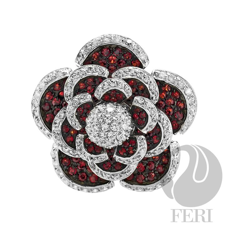 - .925 fine sterling silver - 0.1 micron natural rhodium  Set with:  - AAA white and garnet cubic zirconia  Invest with confidence in FERI Designer Lines