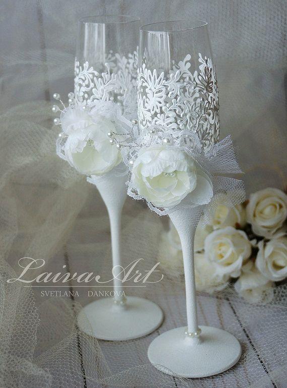 Flautas de champán copas de Champagne blanco boda por LaivaArt