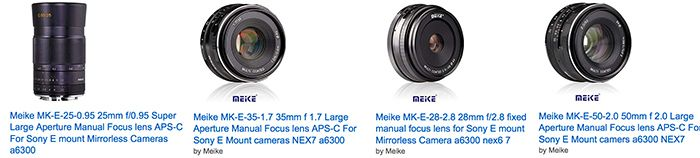 The new Meike Sony E-mount lenses are in Stock at Amazon and eBay #photography