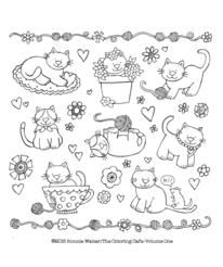 The Kitten Party Free Printable Coloring Page