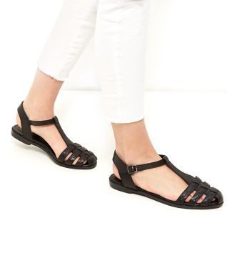 Wide Fit Black Leather Woven T Bar Sandals
