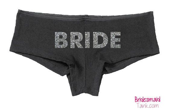 Black BRIDE Boyshorts Black BLING Bride Undies by BridesmaidTank