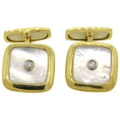 1980s Italian Mother of Pearl Diamond Square Cufflinks
