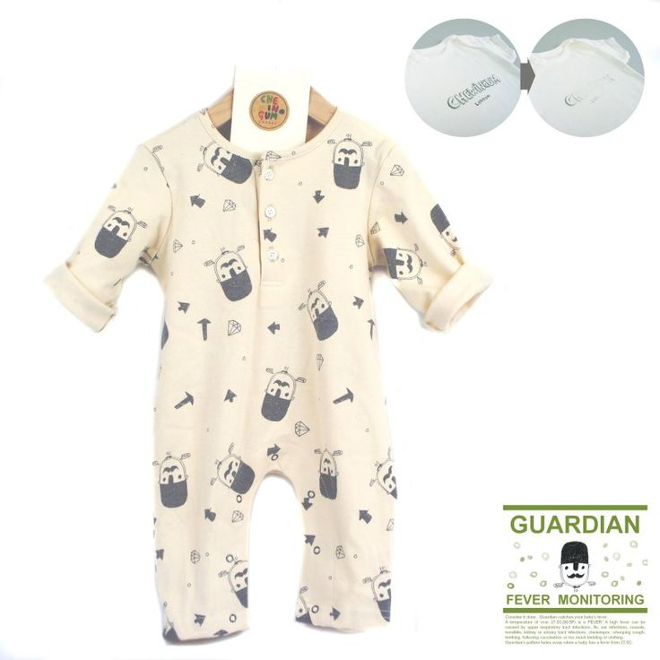 'Baby Fever Monitoring Romper'  Do you know how important you baby's temperature is? If so, this is a must have item for your baby!  We introduce our new 'GUARDIAN LINE', which features patterned clothing that is sensitive to heat.  Our original pattern, 'London Guard' designed by Mrs. Henry fade away when your baby's temperature reaches 37.5C~38C.  Not only does it have this unique special function, but also it has popper fastenings through the leg so it's very easy to change your child's…