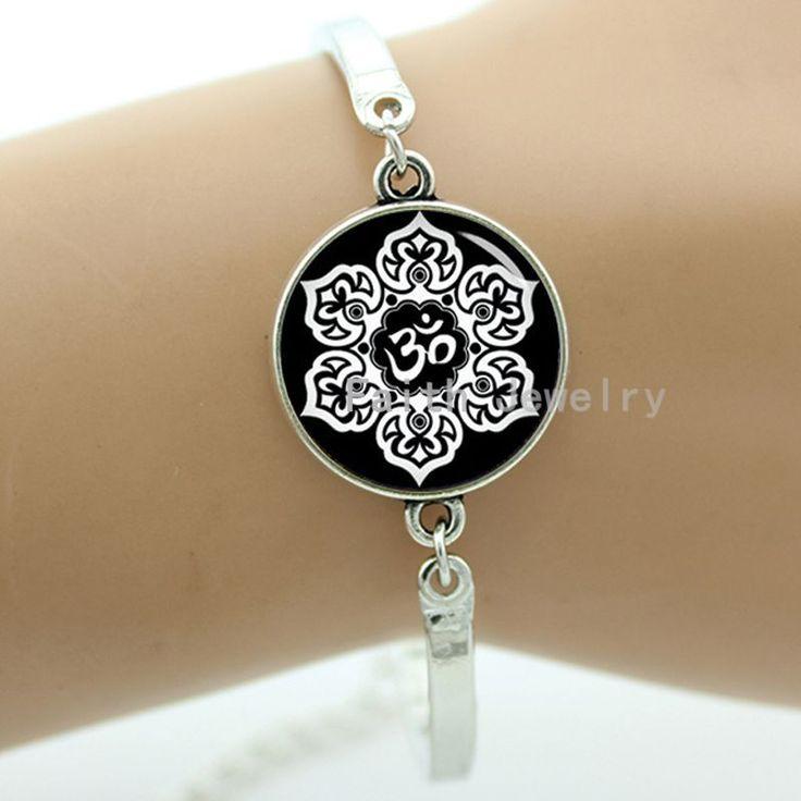White Lotus Flower Om bracelet charming vintage picture pretty flower Buddhist holy symbol handmade faith jewelry gift -1383 #Affiliate