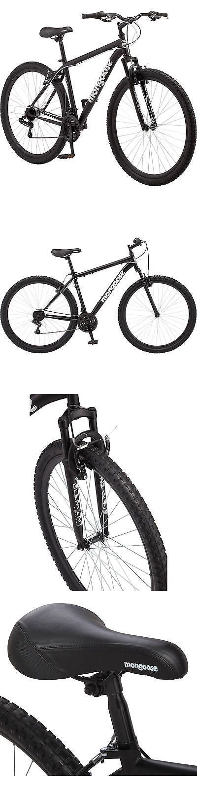 bicycles: 29 Men S Mongoose Mountain Bike 21-Speed Shimano Black Steel Front-Suspension -> BUY IT NOW ONLY: $142.97 on eBay!