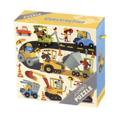 Jumbo puzzle Le chantier de Mudpuppy 25 pièces. Encre non toxique à base de soja.