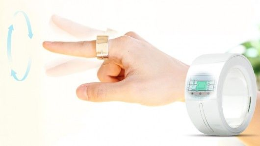 Bluetooth connected ring lets users switch on a TV or a light simply by pointing. The ring can control mobile devices and home appliances, make electronic payments and even type text in mid air with a wave of a finger. The wearer can also be alerted to status updates or notifications via LEDs or a vibration pad embedded in the device.