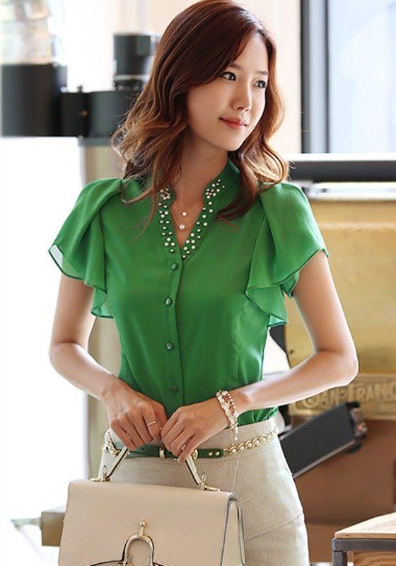 Green Plain Beading Delicate Ruffles Flutter Sleeve V-neck Fashion Chiffon Blouse