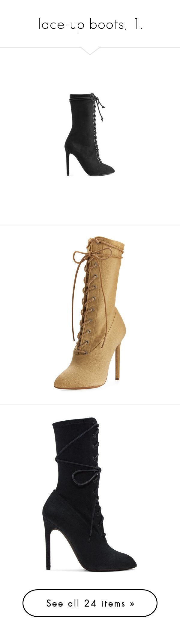 """""""lace-up boots, 1."""" by originalimanim ❤ liked on Polyvore featuring shoes, boots, heels, black laced shoes, black suede boots, suede lace-up boots, suede boots, black lace up shoes, ankle booties and beige"""