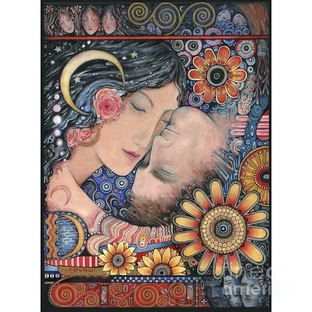 The Sun And The Moon Romantic Art Picture Of Lovers Painting by Liza Paizis